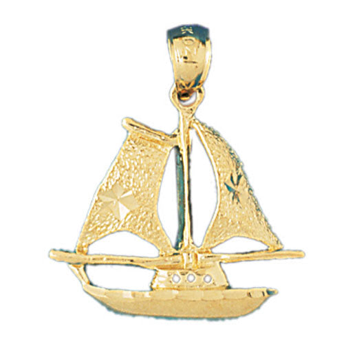 14k Yellow Gold Pirate Ship Charm