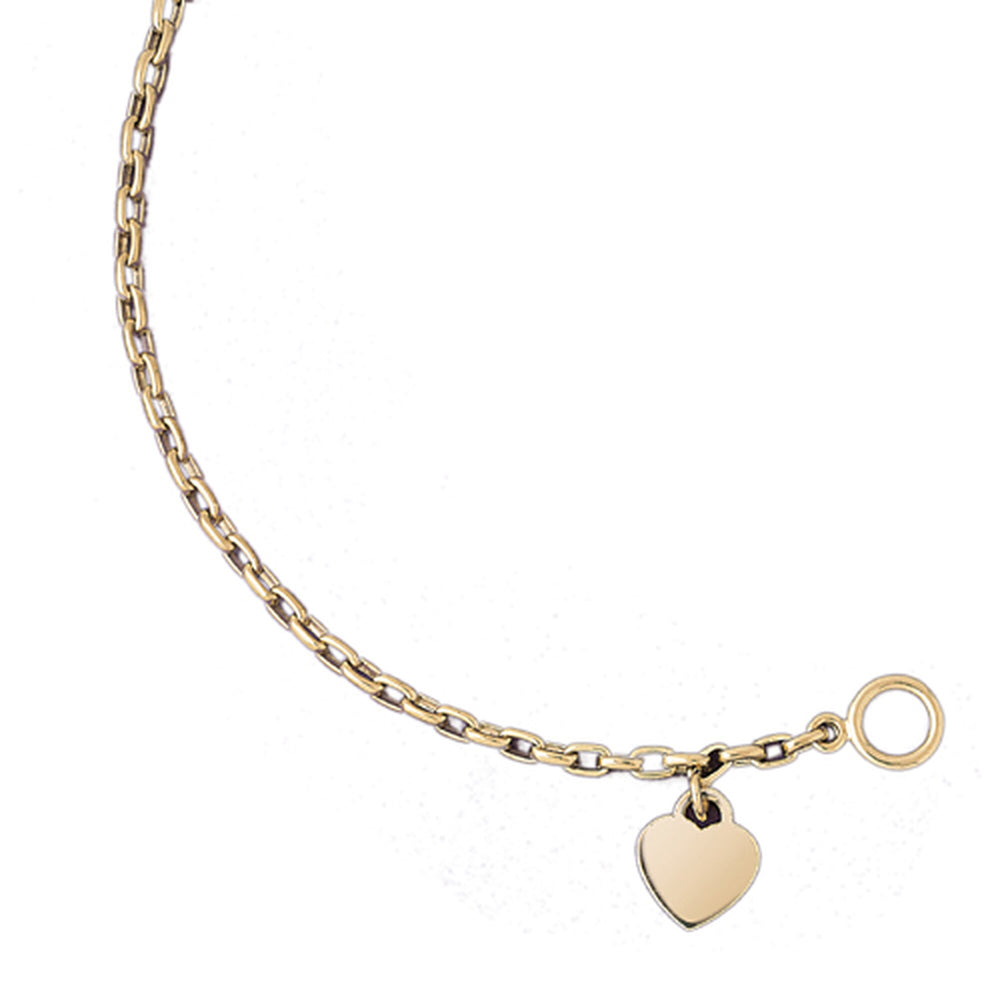 14k Yellow Gold Rollo Bracelet with Heart Charm