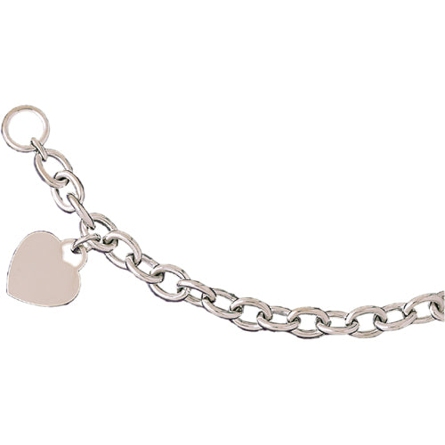 14k Yellow Gold Rollo Bracelet with a heart charm