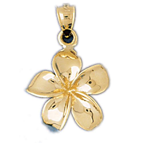 14k Yellow Gold Plumeria Flower Pendant