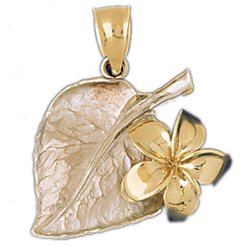 14k Yellow Gold Plumeria Flower and Leaf Pendant