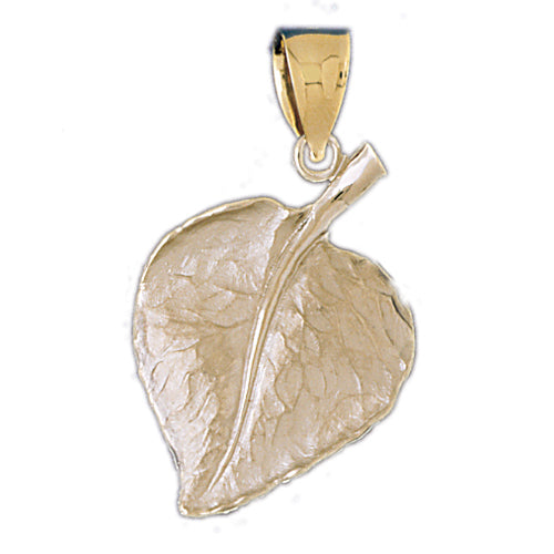 14k Yellow Gold Leaf Pendant