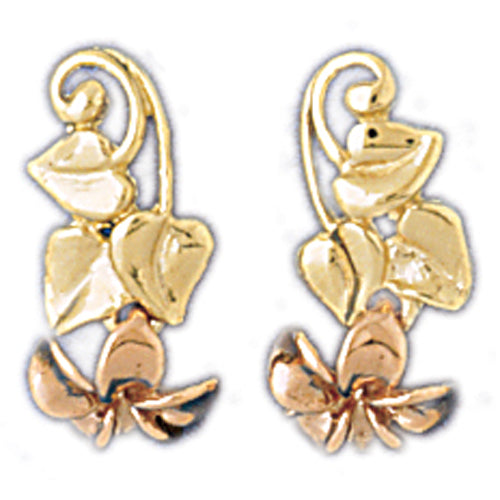 14k Yellow Gold Plumeria Flower Drop Earrings