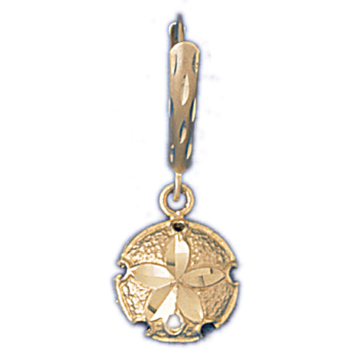 14k Yellow Gold Sand Dollar Leverback Earrings