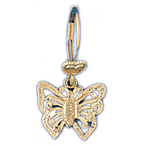 14k Yellow Gold Butterfly Leverback Earrings