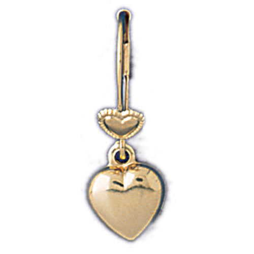 14k Yellow Gold Puffed Heart Leverback Earrings