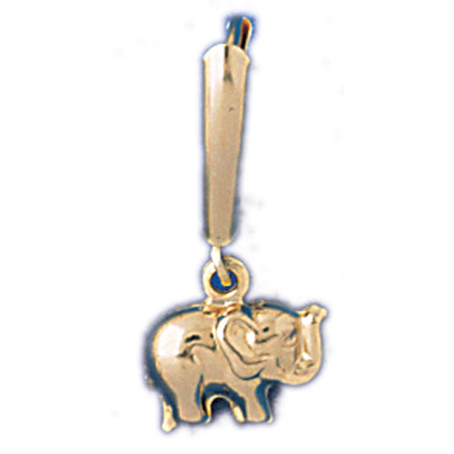 14k Yellow Gold Elephant Leverback Earrings