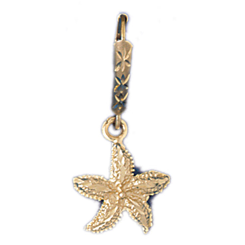 14k Yellow Gold Starfish Leverback Earrings