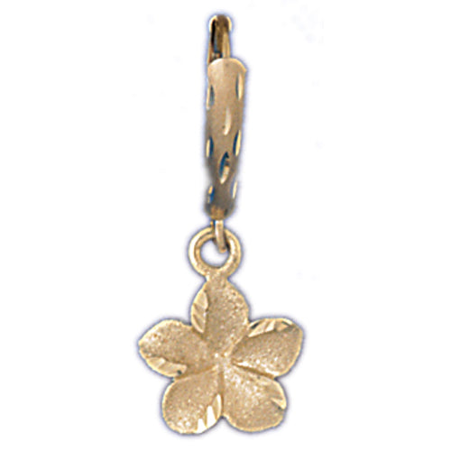 14k Yellow Gold Plumeria Leverback Earrings