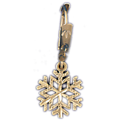 14k Yellow Gold Snowflake Leverback Earrings
