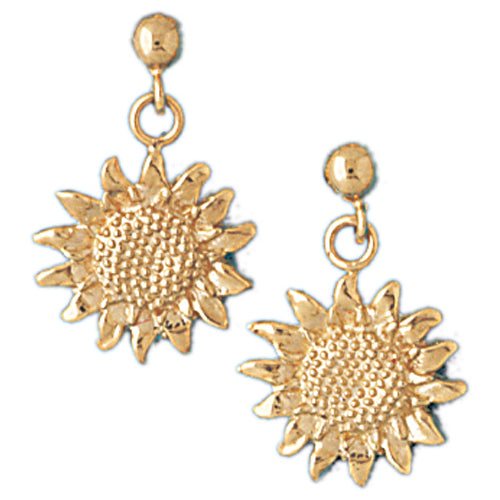 14k Yellow Gold Sunflower Stud Earrings