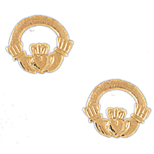 14k Yellow Gold Claddagh Stud Earrings