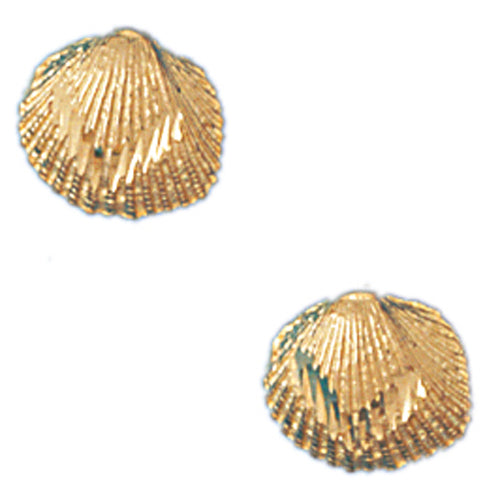 14k Yellow Gold Shell Stud Earrings