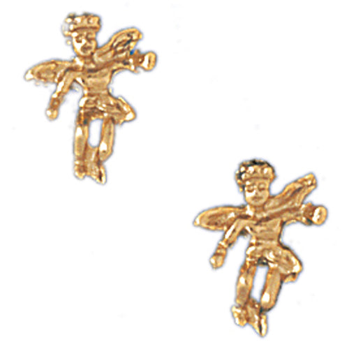 14k Yellow Gold Angel Stud Earrings
