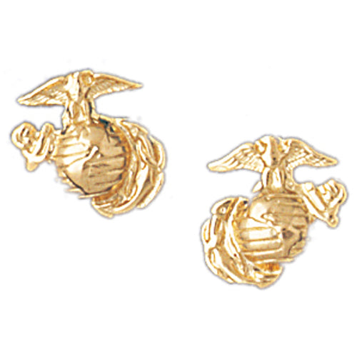 14k Yellow Gold Marine Corps Logo Stud Earrings