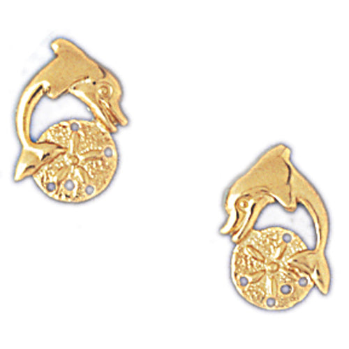 14k Yellow Gold Sand Dollar and Dolphin Stud Earrings