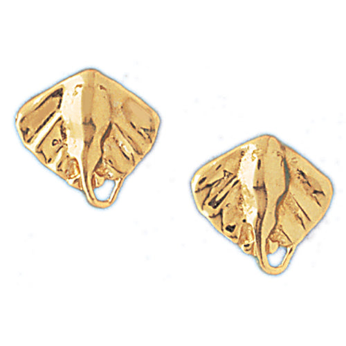 14k Yellow Gold Stingray Stud Earrings