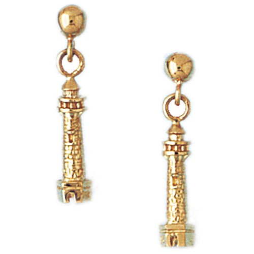 14k Yellow Gold Lighthouse Stud Earrings