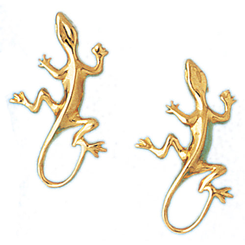 14k Yellow Gold Lizard Stud Earrings