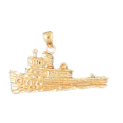 14k Yellow Gold Tug Boat Charm