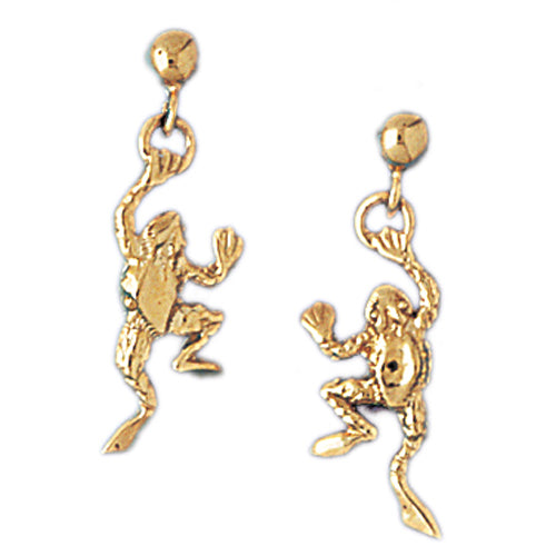 14k Yellow Gold Frog Stud Earrings