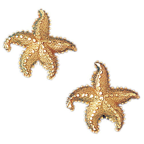 14k Yellow Gold Starfish Stud Earrings