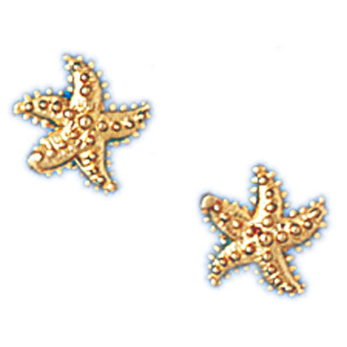 14k Yellow Gold Small Starfish Stud Earrings