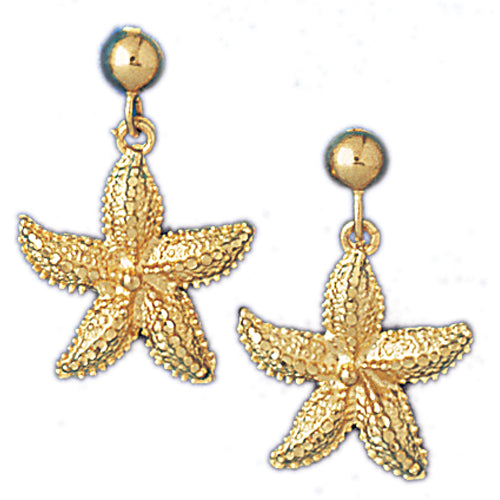 14k Yellow Gold Starfish Dangle Earrings