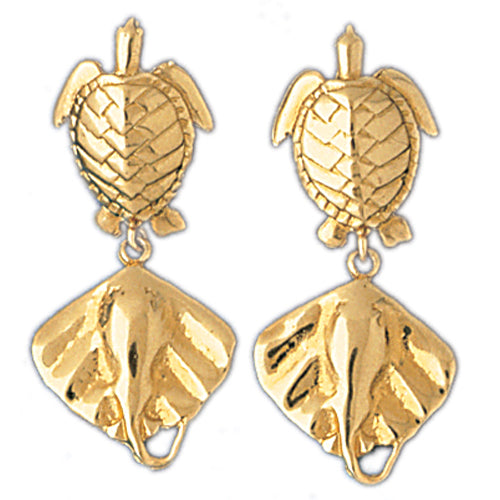 14k Yellow Gold Turtle and Stingray Drop Earrings