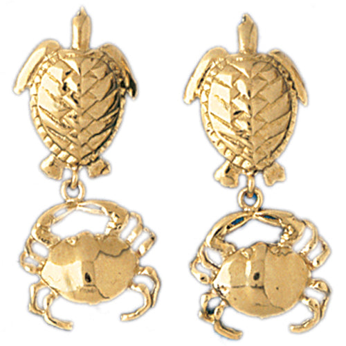 14k Yellow Gold Turtle and Crab Drop Earrings