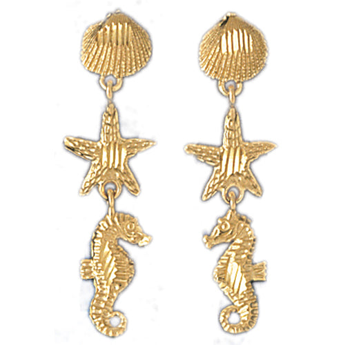 14k Yellow Gold Assorted Nautical Drop Earrings