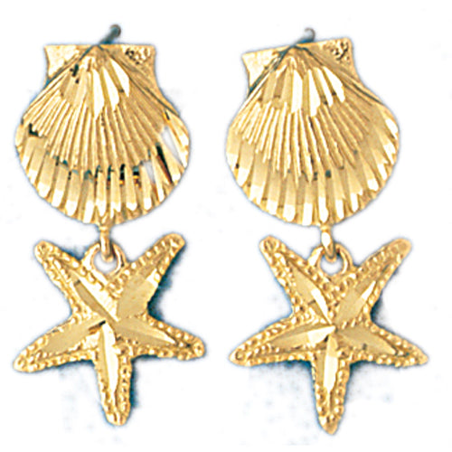 14k Yellow Gold Shell and Starfish Drop Earrings