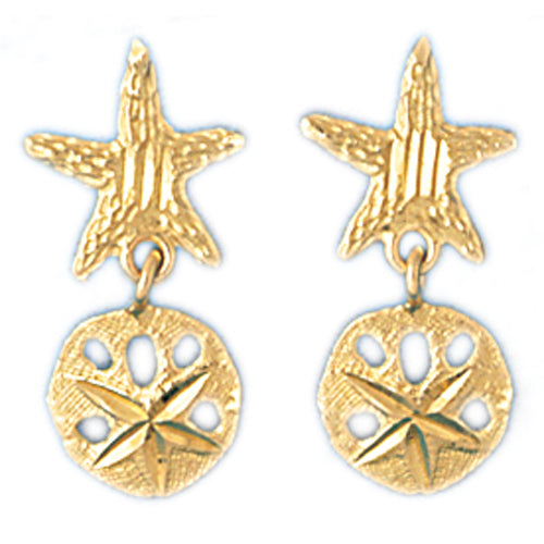 14k Yellow Gold Starfish and Sand Dollar Drop Earrings
