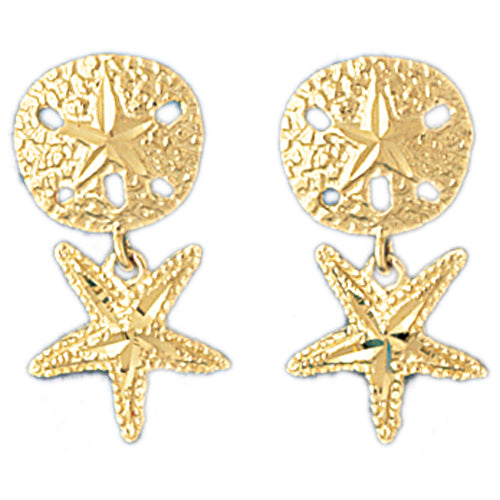14k Yellow Gold Sand Dollar and Starfish Drop Earrings