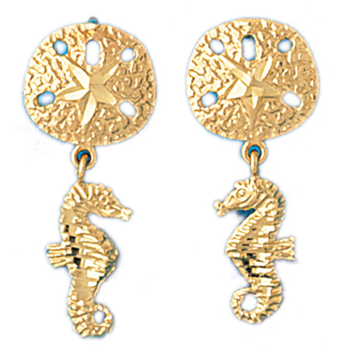 14k Yellow Gold Sand Dollar and Seahorse Drop Earrings