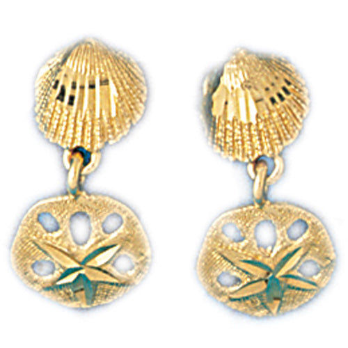 14k Yellow Gold Shell and Sand Dollar Drop Earrings