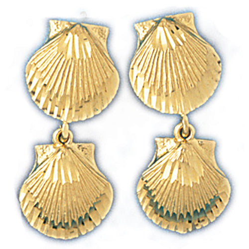 14k Yellow Gold Shell Drop Earrings