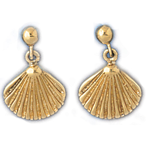 14k Yellow Gold Shell Dangle Earrings