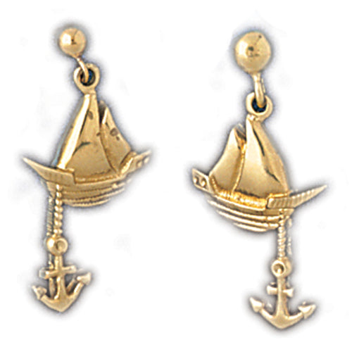 14k Yellow Gold Sailboat with Anchor Dangle Earrings