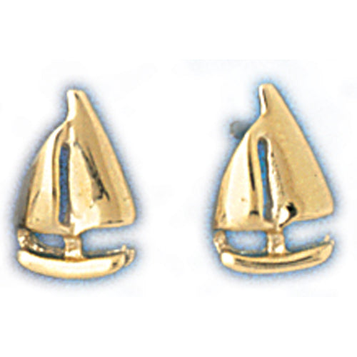14k Yellow Gold Sailboat Stud Earrings