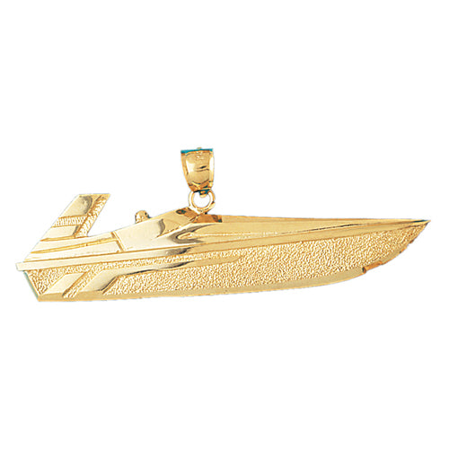 14k Yellow Gold Speed Race Boat Charm