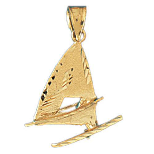 14k Yellow Gold Racing Boat Charm