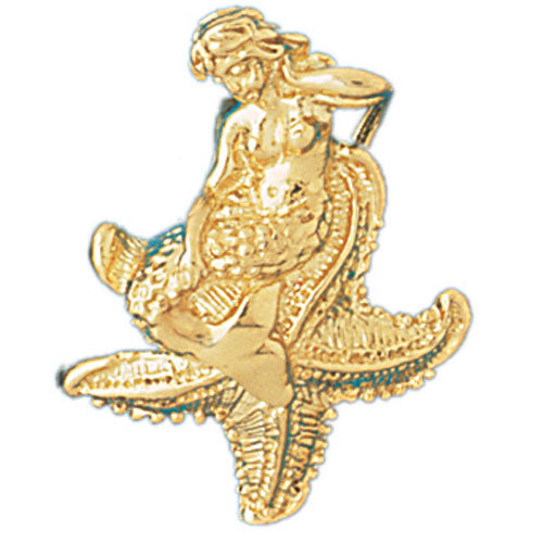 14k Yellow Gold 3-D Mermaid and Starfish Charm