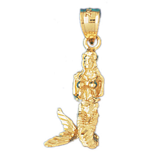 14k Yellow Gold 3-D Mermaid Charm