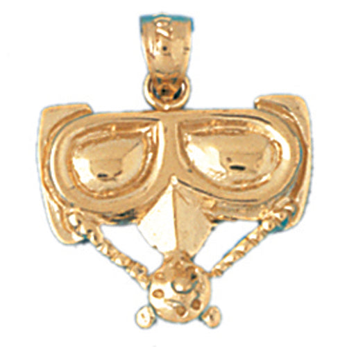 14k Yellow Gold Scuba Mask Charm