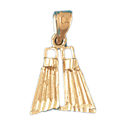14k Yellow Gold Scuba Finns Charm