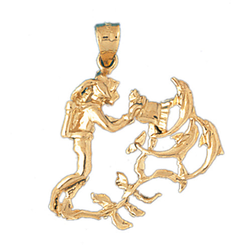 14k Yellow Gold Scuba Diver with Coral Charm