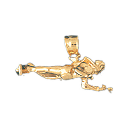 14k Yellow Gold 3-D Scuba Diver Charm