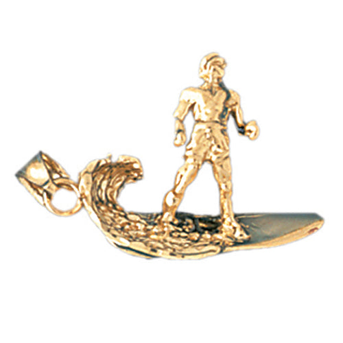 14k Yellow Gold 3-D Surfer Charm
