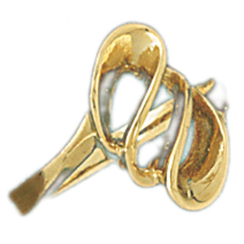 14k Yellow Gold Fancy Swirl Ladies Ring